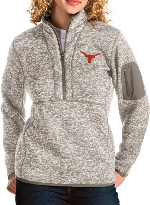 Antigua Women's Texas Longhorns Grey Fortune Pullover Jacket product image