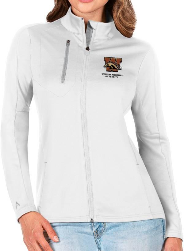 Antigua Women's Western Michigan Broncos Generation Half-Zip Pullover White Shirt product image