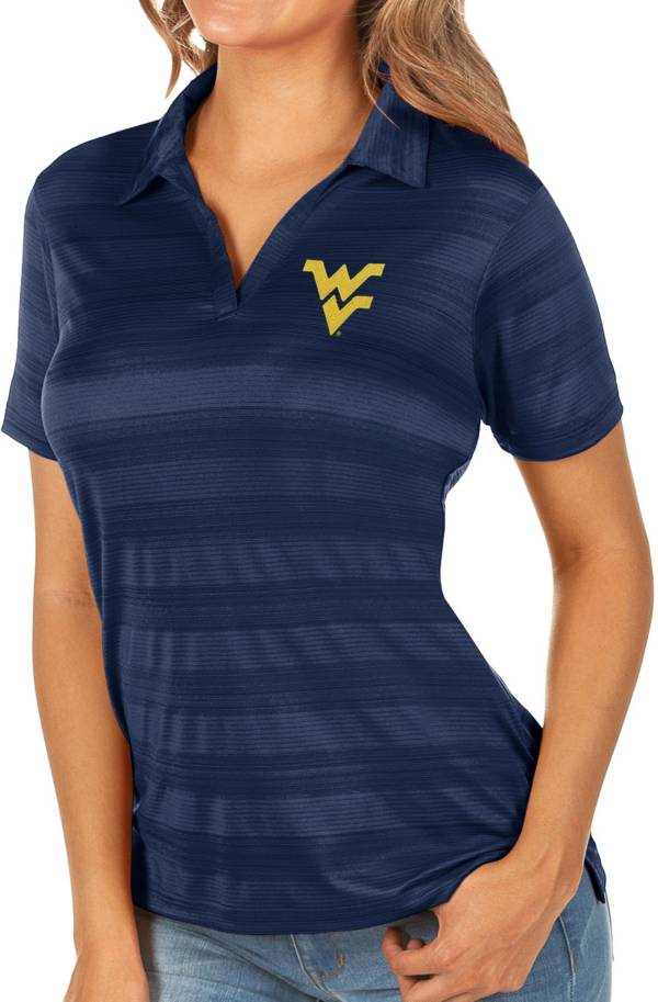 Antigua Women's West Virginia Mountaineers Blue Compass Polo product image