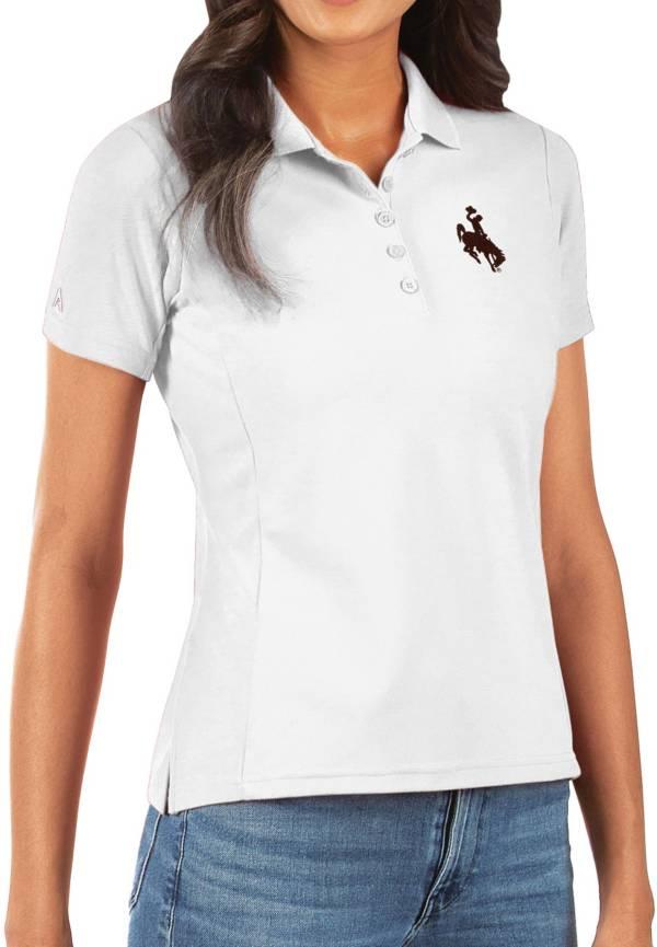 Antigua Women's Wyoming Cowboys Legacy Pique White Polo product image