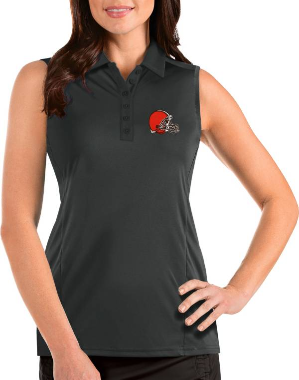 Antigua Women's Cleveland Browns Tribute Sleeveless Grey Performance Polo product image