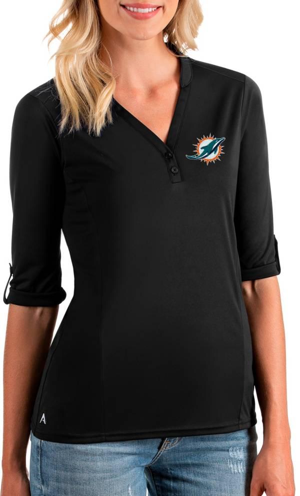 Antigua Women's Miami Dolphins Accolade Black Three-Quarter Sleeve Polo product image