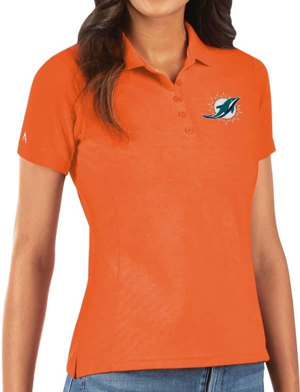 Antigua Women's Miami Dolphins Orange Legacy Pique Polo product image