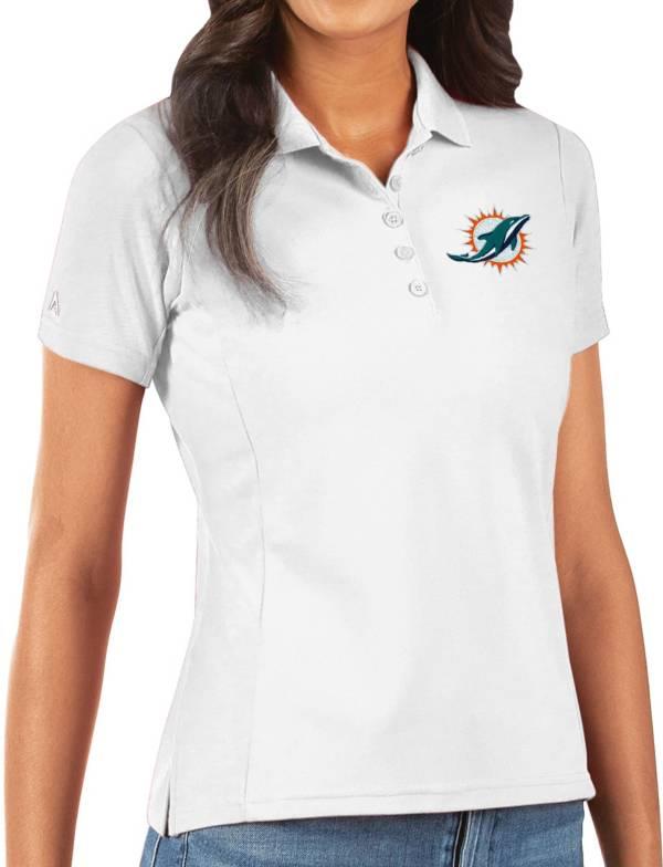 Antigua Women's Miami Dolphins White Legacy Pique Polo product image