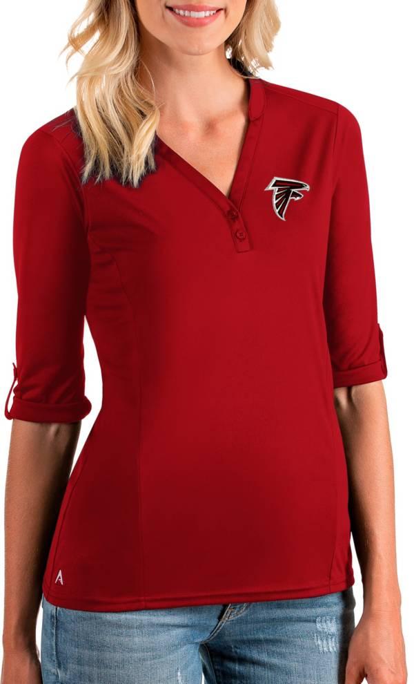 Antigua Women's Atlanta Falcons Accolade Red Three-Quarter Sleeve Polo product image