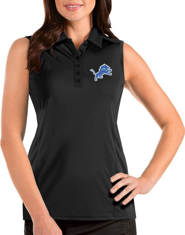 Antigua Women's Detroit Lions Tribute Sleeveless Black Performance Polo product image