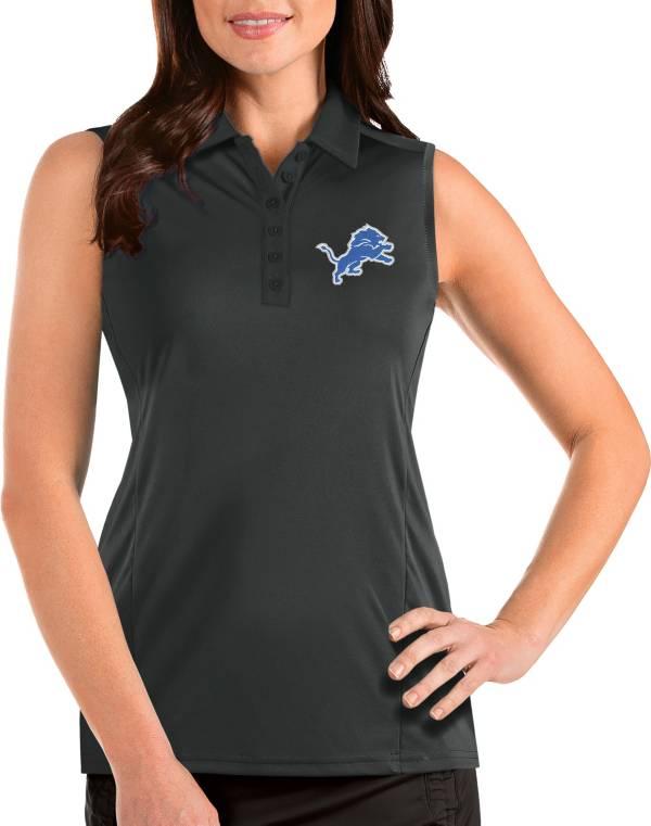 Antigua Women's Detroit Lions Tribute Sleeveless Grey Performance Polo product image