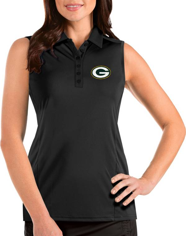 Antigua Women's Green Bay Packers Tribute Sleeveless Black Performance Polo product image
