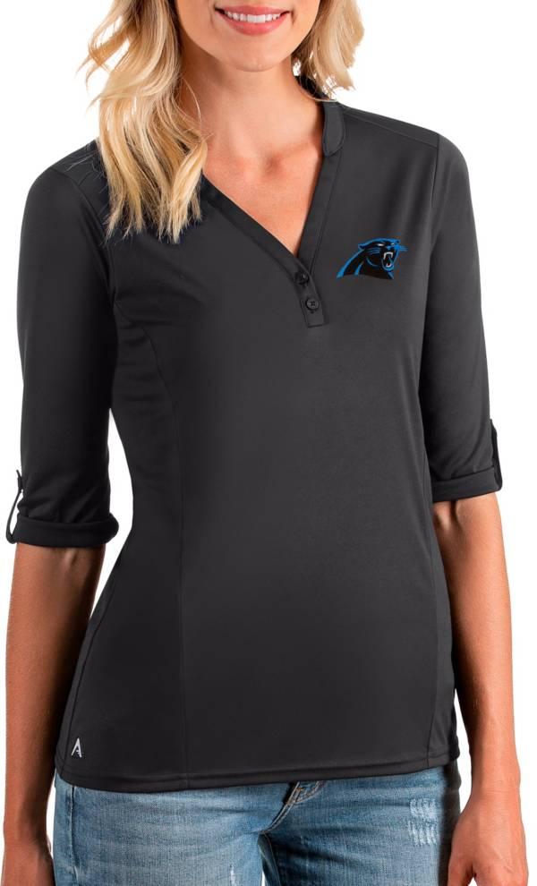 Antigua Women's Carolina Panthers Accolade Smoke Three-Quarter Sleeve Polo product image