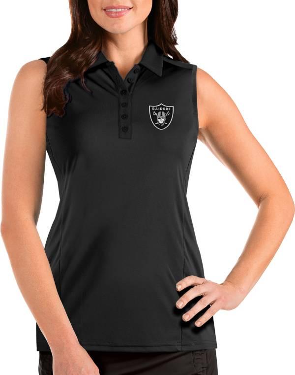 Antigua Women's Las Vegas Raiders Tribute Sleeveless Black Performance Polo product image