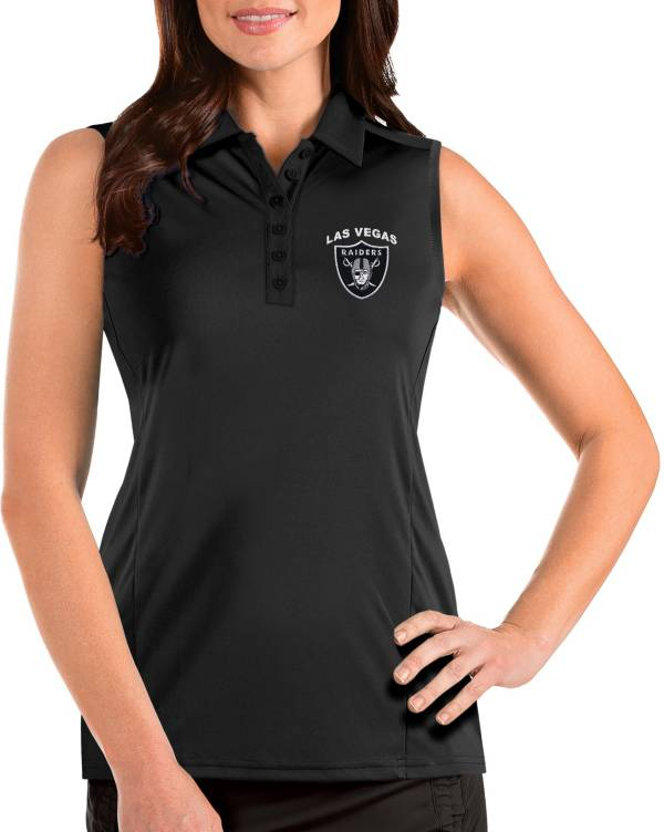 Antigua Women's Las Vegas Raiders Sleeveless Black Performance Polo product image