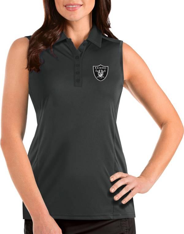 Antigua Women's Las Vegas Raiders Tribute Sleeveless Grey Performance Polo product image