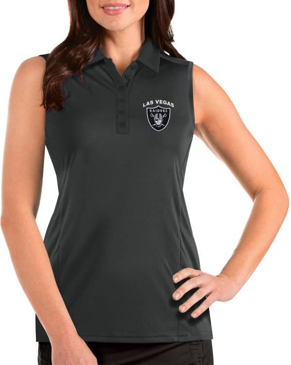 Antigua Women's Las Vegas Raiders Sleeveless Grey Performance Polo product image