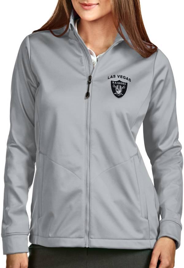 Antigua Women's Las Vegas Raiders Silver Full-Zip Golf Jacket product image