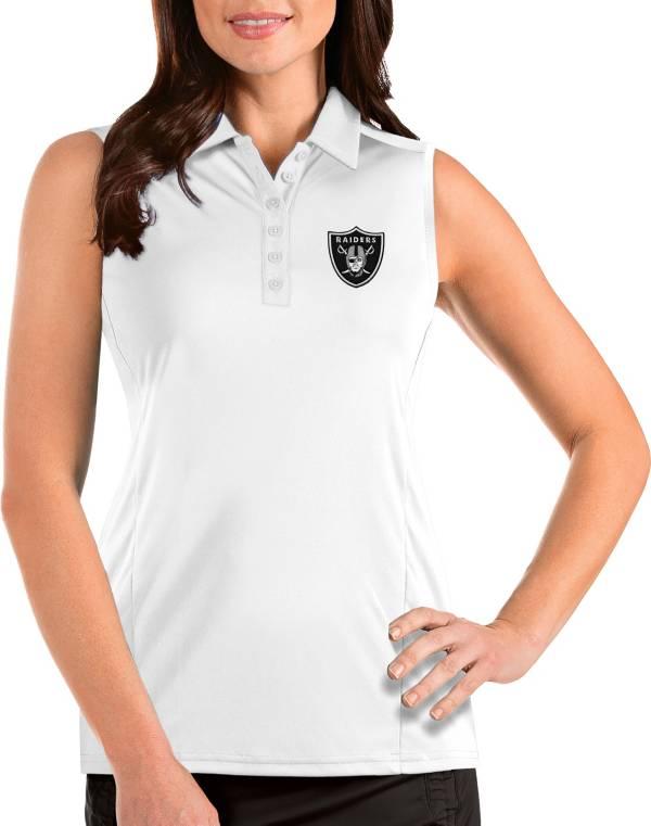 Antigua Women's Las Vegas Raiders Tribute Sleeveless White Performance Polo product image