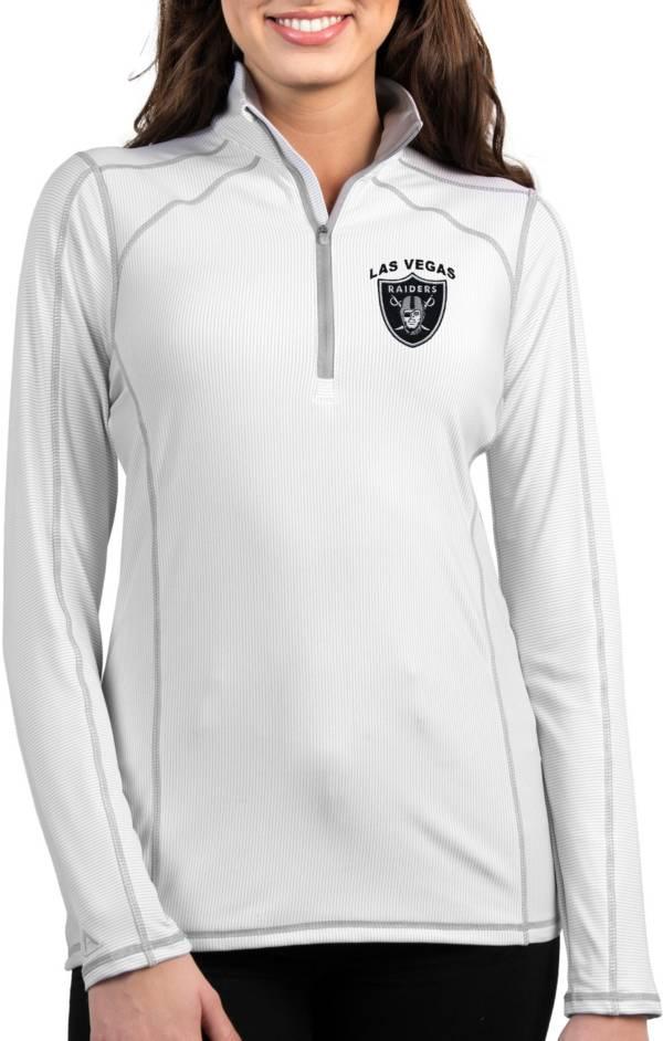 Antigua Women's Las Vegas Raiders Tempo White Quarter-Zip Pullover product image