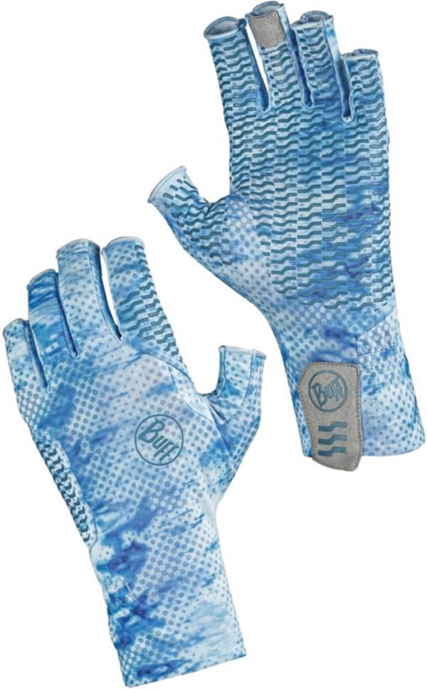 Buff Aqua Camo Blue Fishing Gloves product image