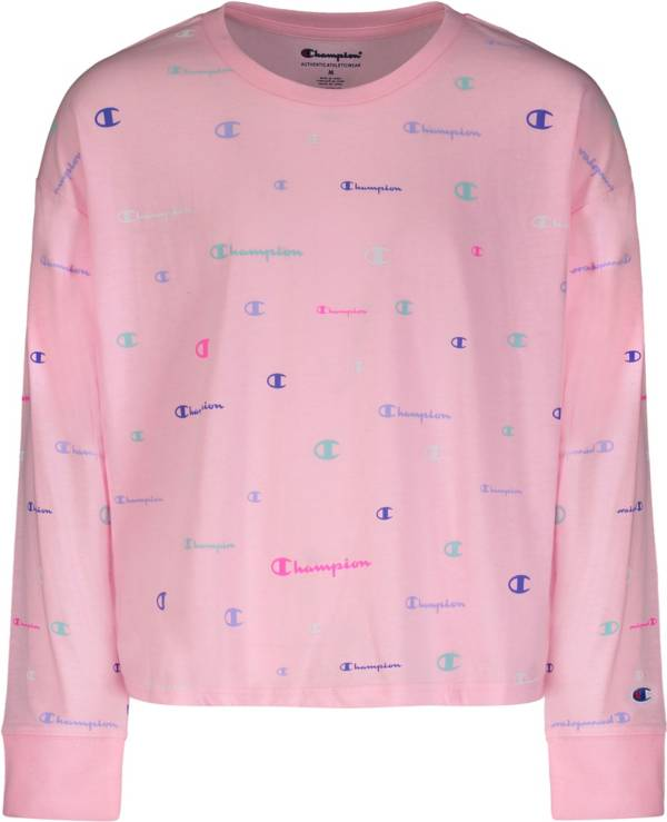 Champion Girls' Multicolor Logo French Terry Crew Pullover product image