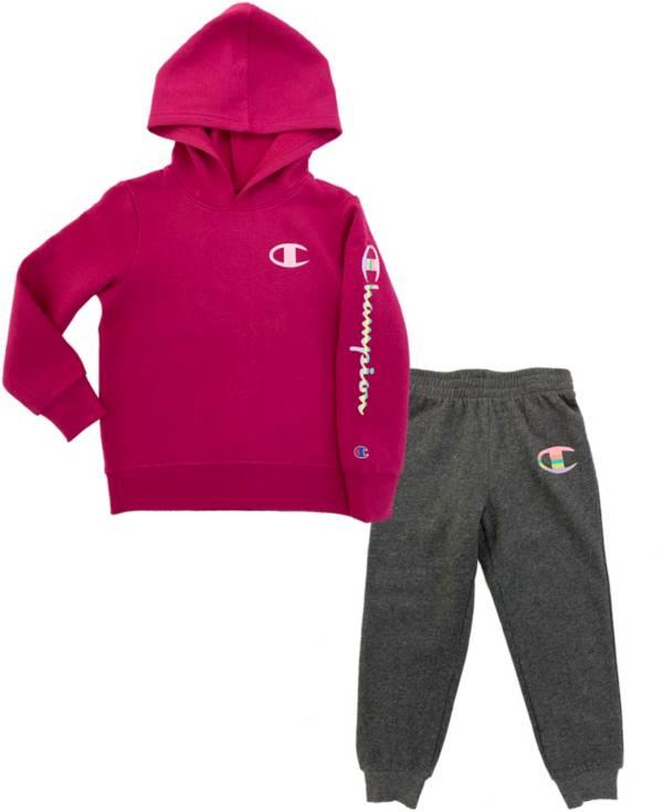 Champion Little Girl's Rainbow Script Fleece Hoodie and Joggers Set product image