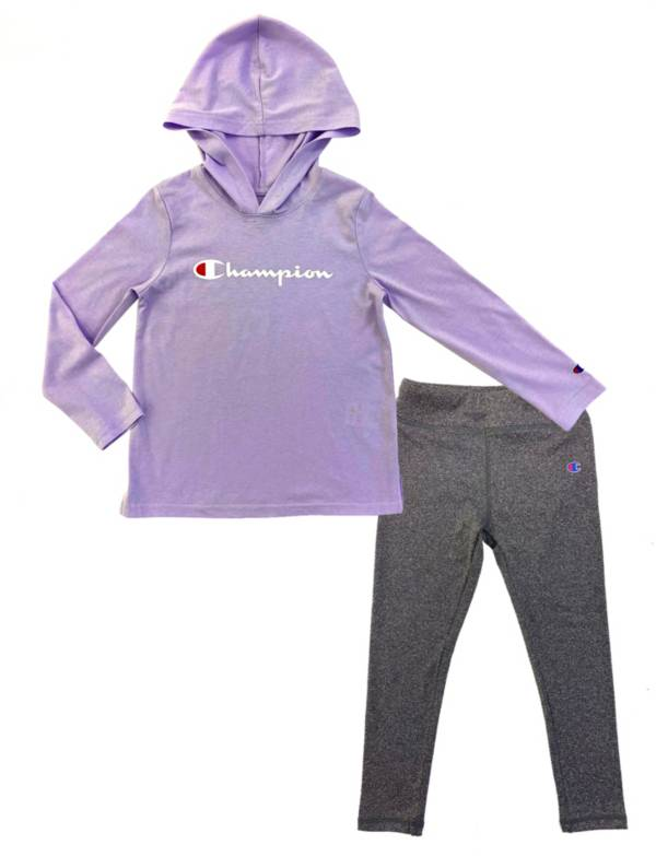 Champion Girls' Script Hooded Long Sleeve Shirt and Leggings Set product image