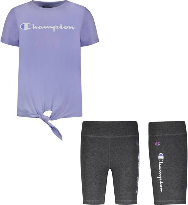 Champion Little Girls' Tie T-Shirt and Bike Shorts Set product image