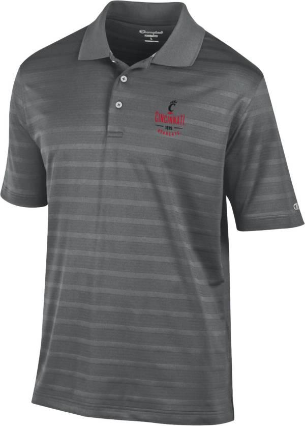 Champion Men's Cincinnati Bearcats Grey Textured Stripe Performance Polo product image