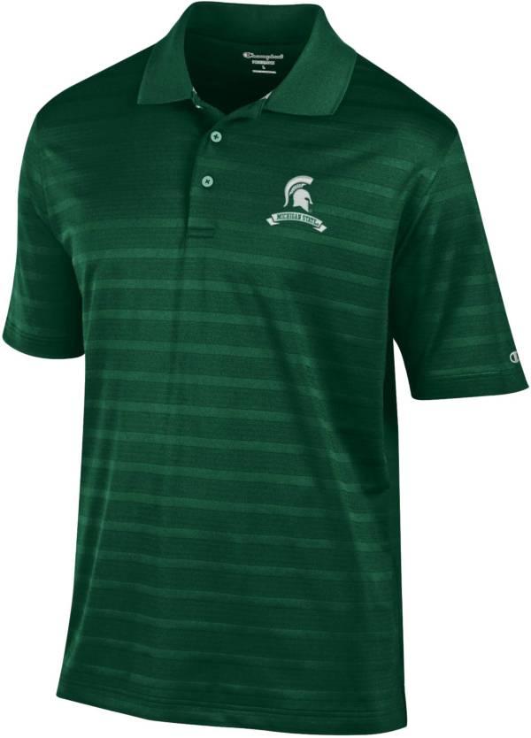 Champion Men's Michigan State Spartans Green Retro Logo Textured Polo product image
