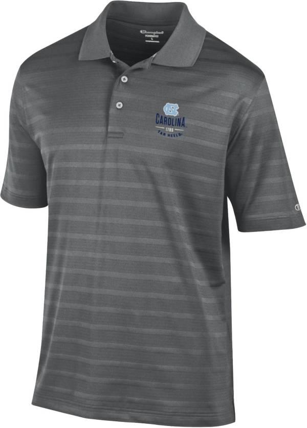 Champion Men's North Carolina Tar Heels Grey Textured Stripe Performance Polo product image