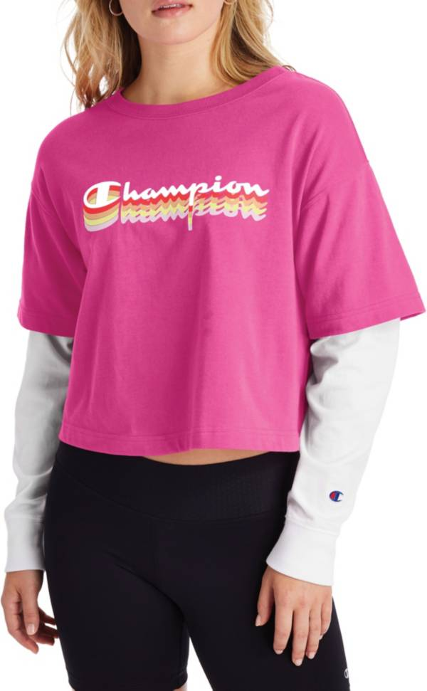 Champion Women's Cropped 2-Fer T-Shirt product image