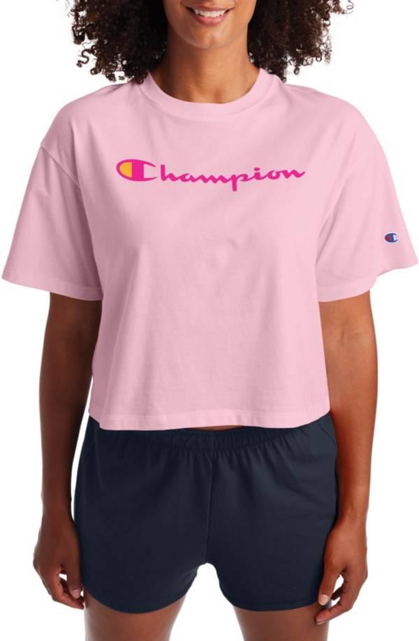 Champion Women's Cropped Script Logo Short Sleeve T-Shirt product image