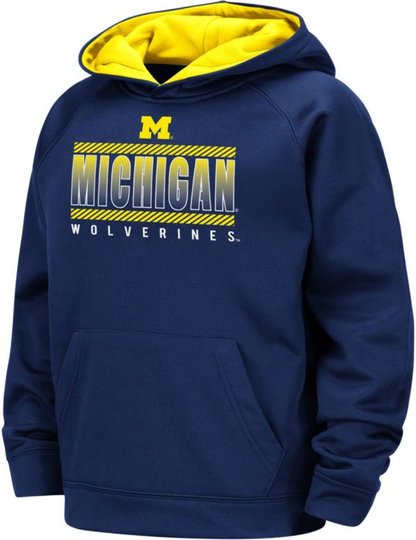 Colosseum Boys' Michigan Wolverines Blue Raglan Pullover Hoodie product image