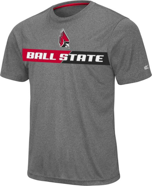 Colosseum Men's Ball State Cardinals Grey Bait T-Shirt product image