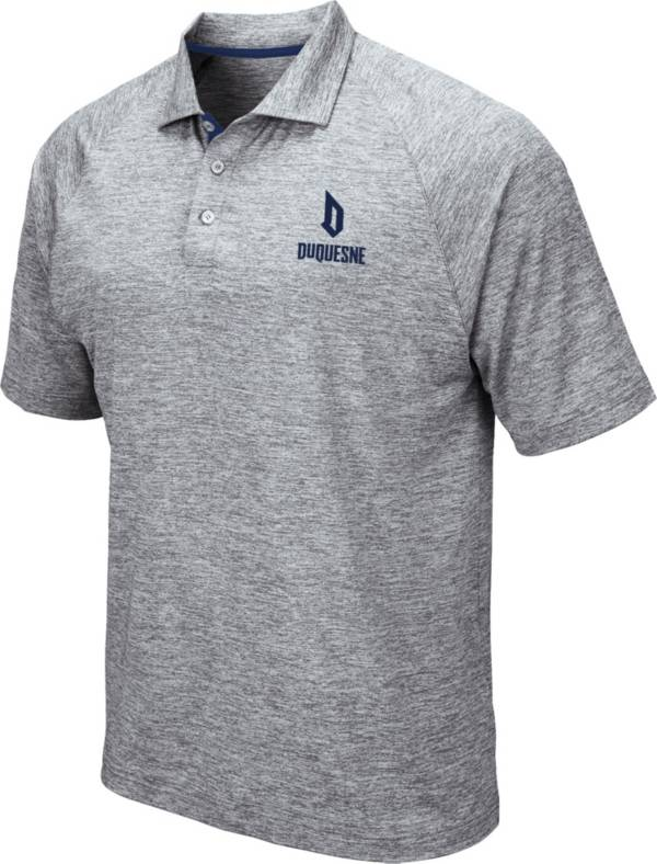Colosseum Men's Duquesne Dukes Grey Wedge Polo product image