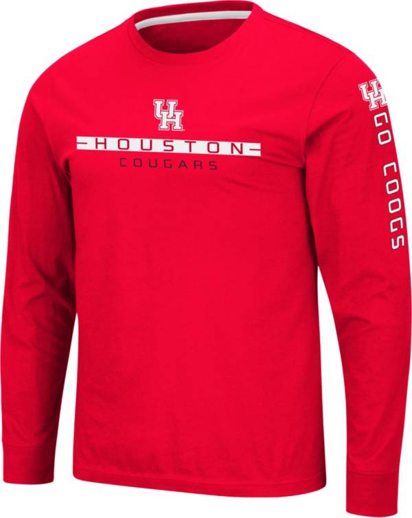 Colosseum Men's Houston Cougars Red Blitzgiving Long Sleeve T-Shirt product image