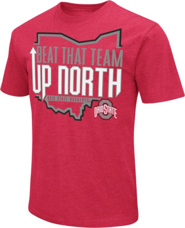 Colosseum Men's Ohio State Buckeyes Scarlet Dual Blend Football T-Shirt product image