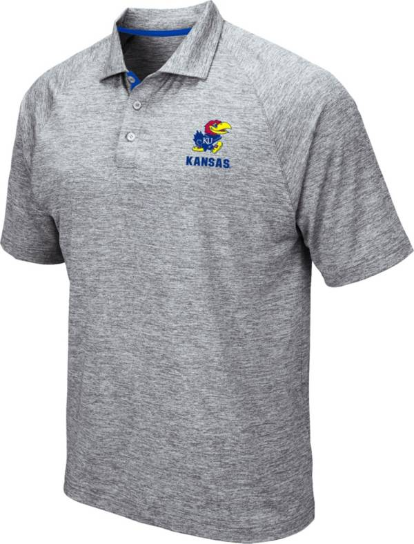 Colosseum Men's Kansas Jayhawks Grey Wedge Polo product image