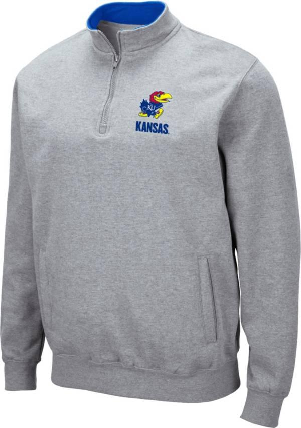 Colosseum Men's Kansas Jayhawks Grey Fleece Quarter-Zip Shirt product image