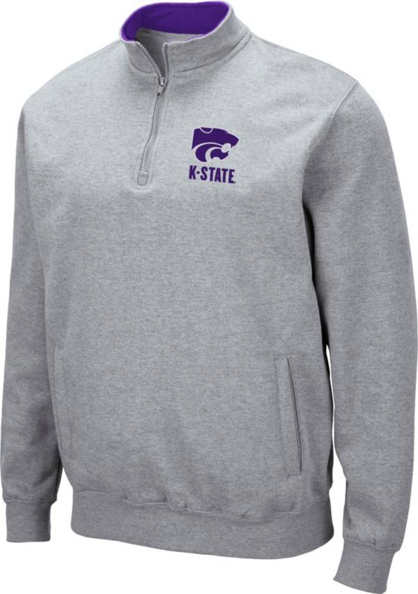 Colosseum Men's Kansas State Wildcats Grey Fleece Quarter-Zip Shirt product image