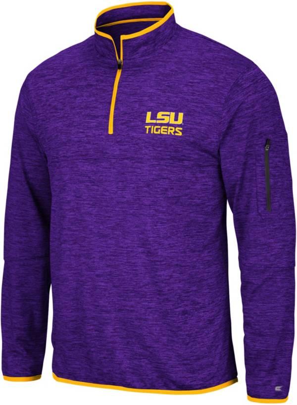 Colosseum Men's LSU Tigers Purple Slub Quarter-Zip Shirt product image