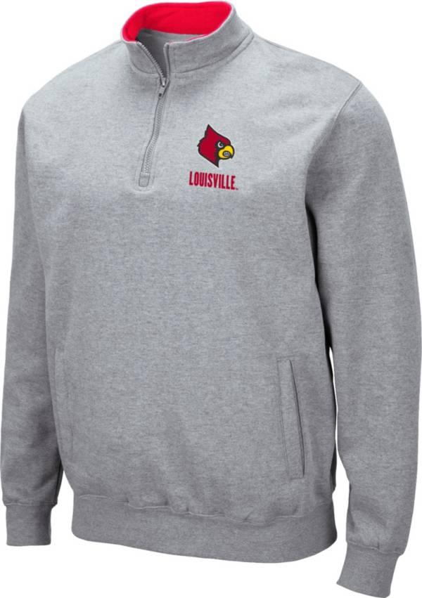 Colosseum Men's Louisville Cardinals Grey Fleece Quarter-Zip Shirt product image