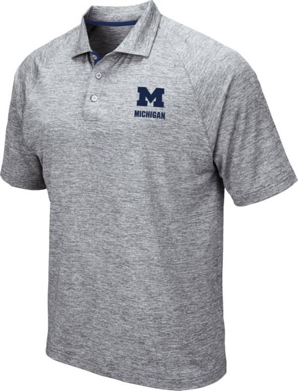 Colosseum Men's Michigan Wolverines Grey Wedge Polo product image