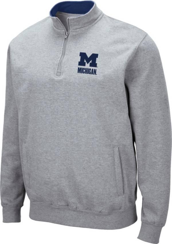Colosseum Men's Michigan Wolverines Grey Fleece Quarter-Zip Shirt product image