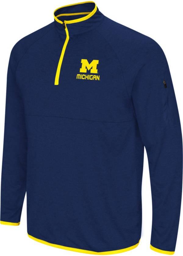 Colosseum Men's Michigan Wolverines Blue Rival Quarter-Zip Shirt product image