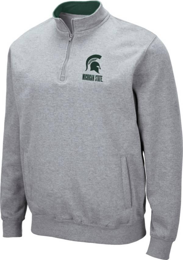 Colosseum Men's Michigan State Spartans Grey Fleece Quarter-Zip Shirt product image