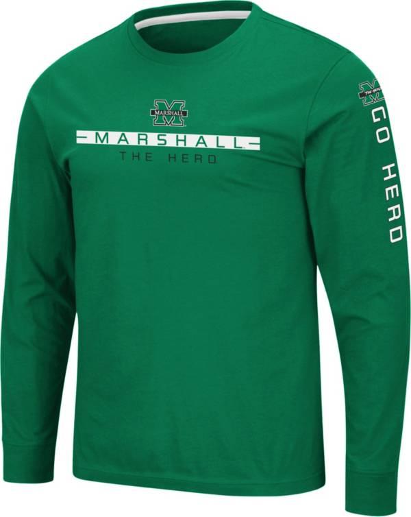 Colosseum Men's Marshall Thundering Herd Green Blitzgiving Long Sleeve T-Shirt product image