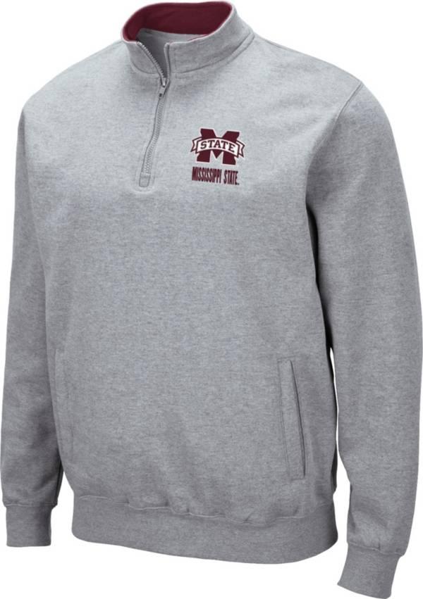 Colosseum Men's Mississippi State Bulldogs Grey Fleece Quarter-Zip Shirt product image