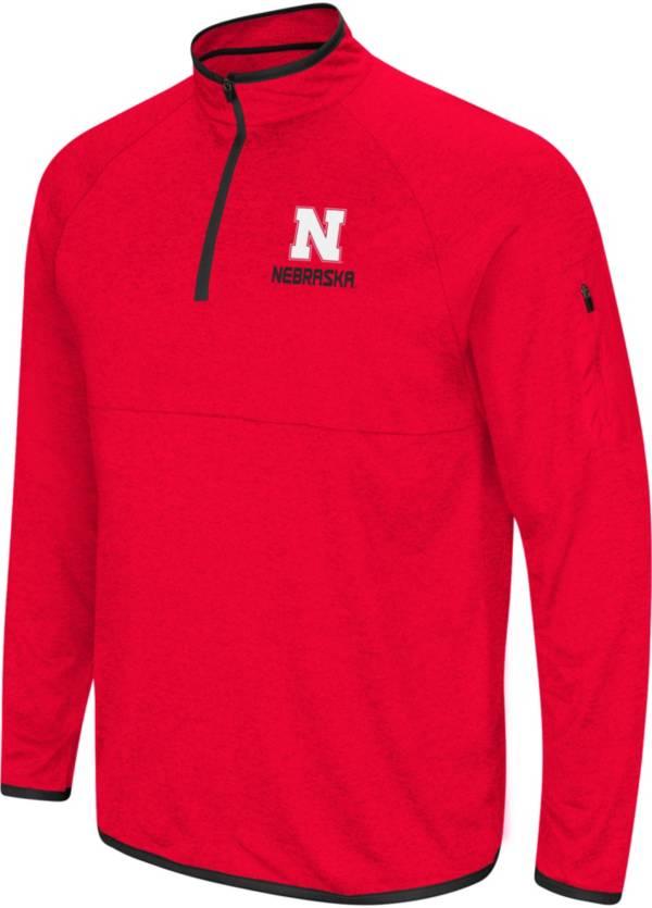 Colosseum Men's Nebraska Cornhuskers Scarlet Rival Quarter-Zip Shirt product image