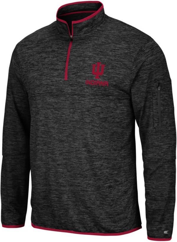 Colosseum Men's Indiana Hoosiers Slub Quarter-Zip Black Shirt product image