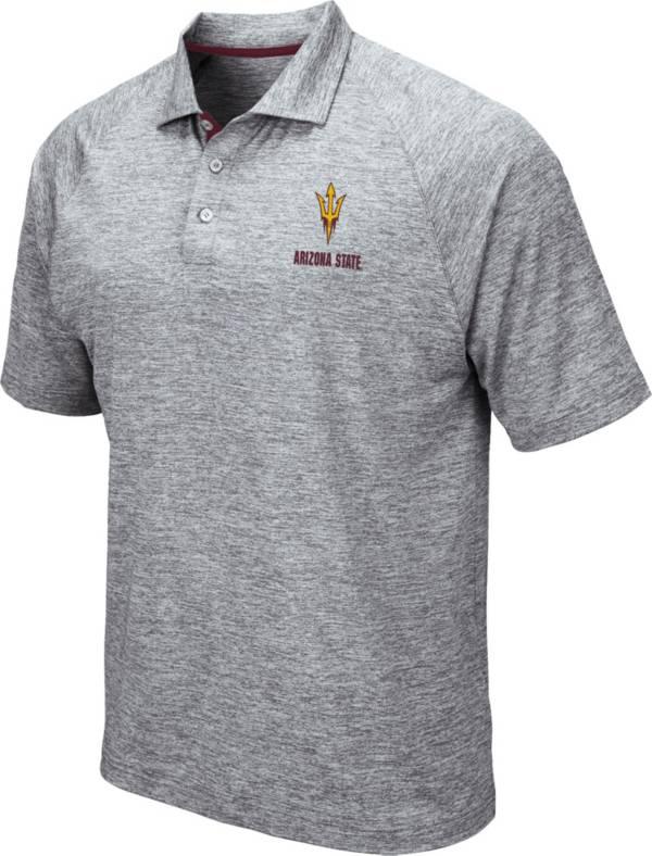 Colosseum Men's Arizona State Sun Devils Grey Wedge Polo product image