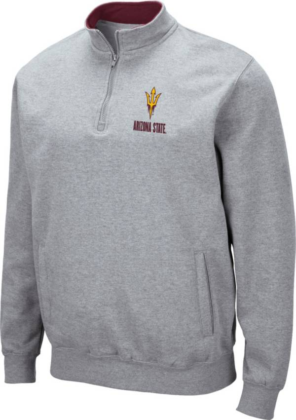 Colosseum Men's Arizona State Sun Devils Grey Fleece Quarter-Zip Shirt product image